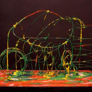 S_2017_03 - 51 x 38 x 34 cm - Technique : fil de fer peint sur bois, acrylique