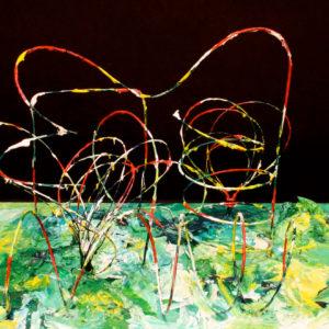 S_2017_04 - 49,5 x 36 x 29 cm - Technique : fil de fer peint sur bois, acrylique