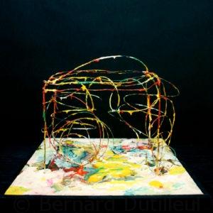 S_2017_06 - 36,5 x 36,5 x 30 cm - Technique : fil de fer peint sur bois, acrylique