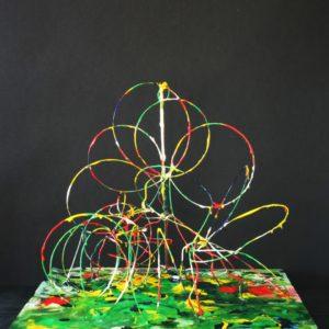 S_2018_01 - 34,5 x 33,5 x 32 cm - Technique : bois, fil de fer, acrylique
