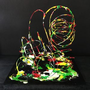 S_2018_02 - 28,5 x 29 x 34 cm - Technique : bois, fil de fer, acrylique
